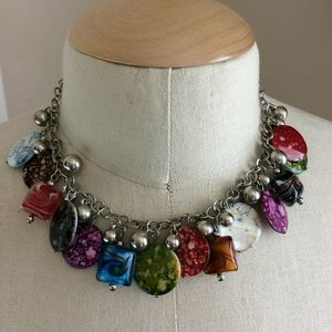 Women's Silver Necklace with Ecletic Glass Beads